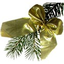 pine branch with gold bow