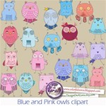 Blue and Pink cute whimsical owls